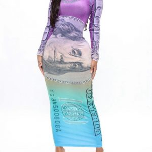 High class in purple and combo maxi dress in dollar 1