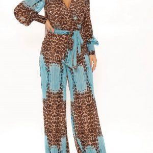 Long sleeve leopard print jumpsuit in aqua combo 1