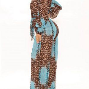 Long sleeve leopard print jumpsuit in aqua combo 3