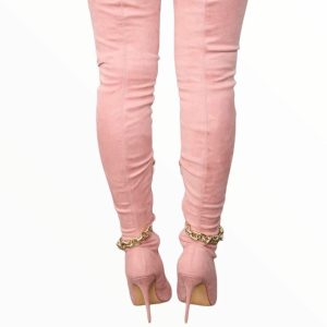 Be a sexy bombshell with chain boots pink 1