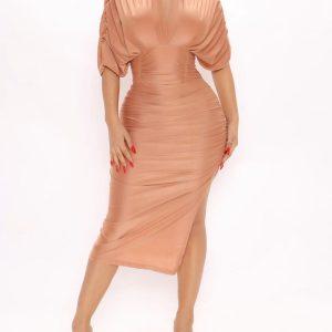 Deep V neckline short sleeve midi dress 6