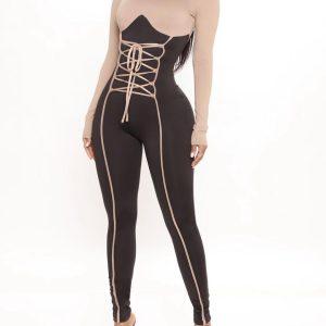 Long sleeve diva jumpsuit in nudecombo 3